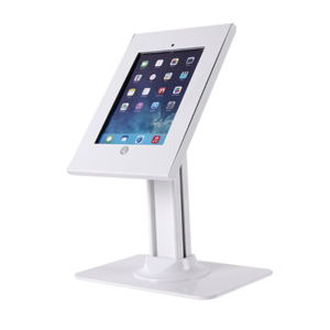 Secure Lockable White Desk Stand